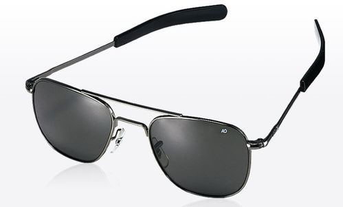 Óculos AO Original Pilot Black - Color Correct Grey Polycarbon Polarized - 52mm