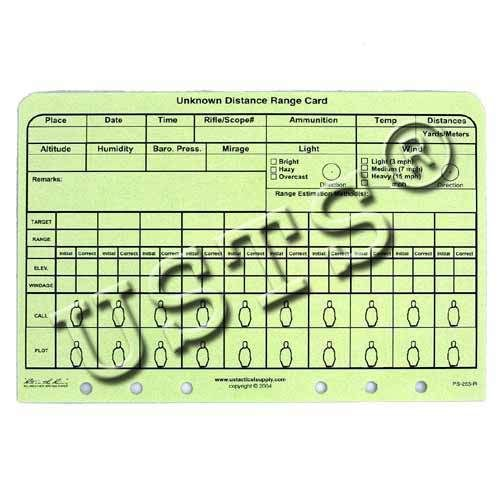 Folhas Unknown Distance Range Card US Tactical Supply