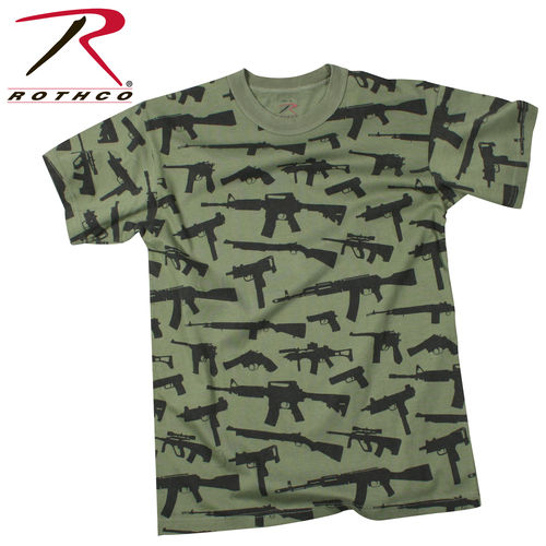 T-Shirt Rothco Vintage Guns OD Green